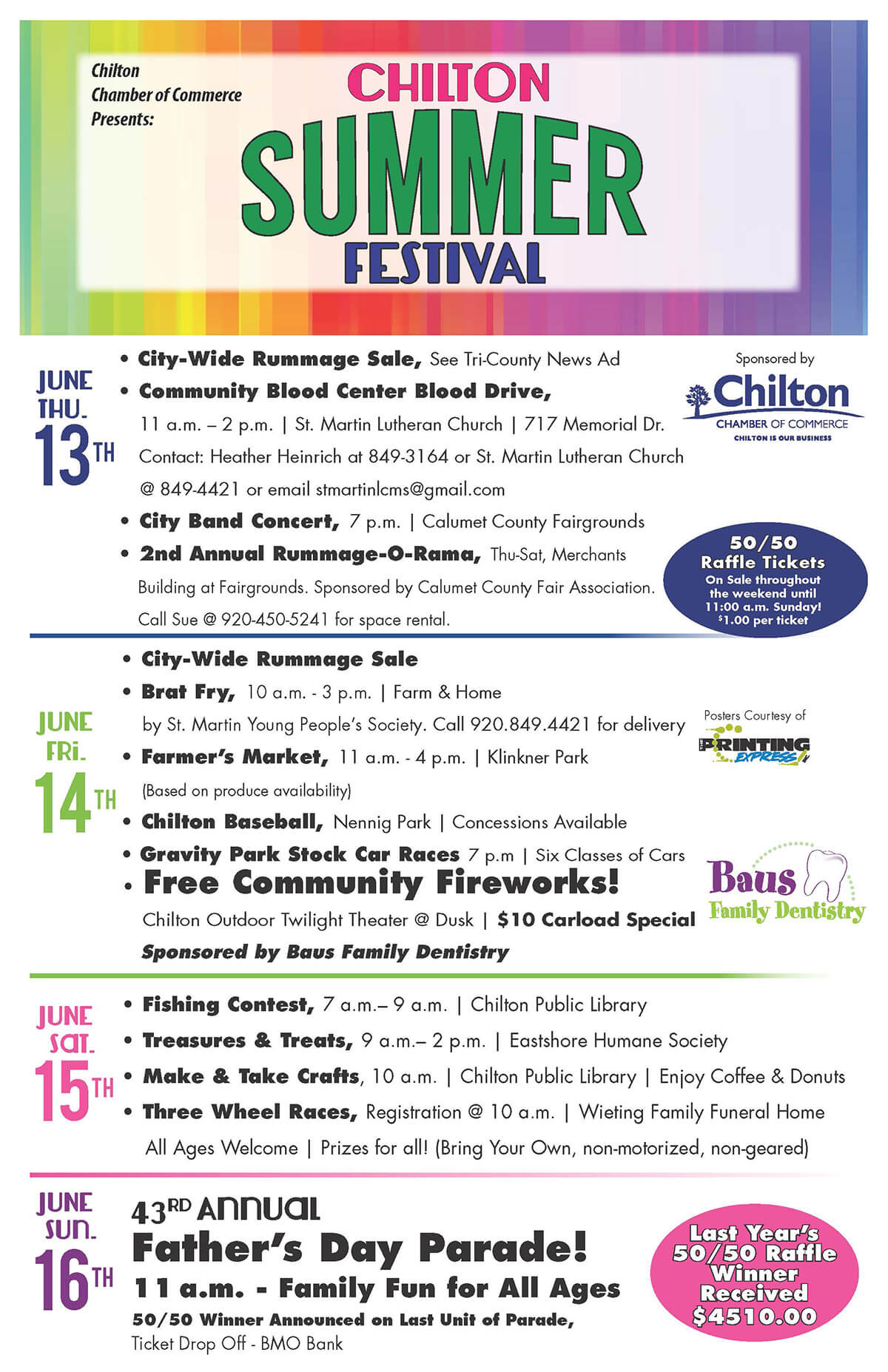 2019 Chilton Wisconsin Summer Festival flyer