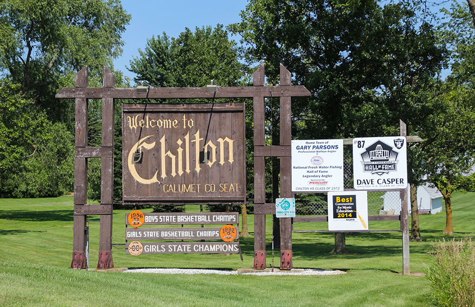 Chilton Wisconsin welcome sign at Klinkner Park