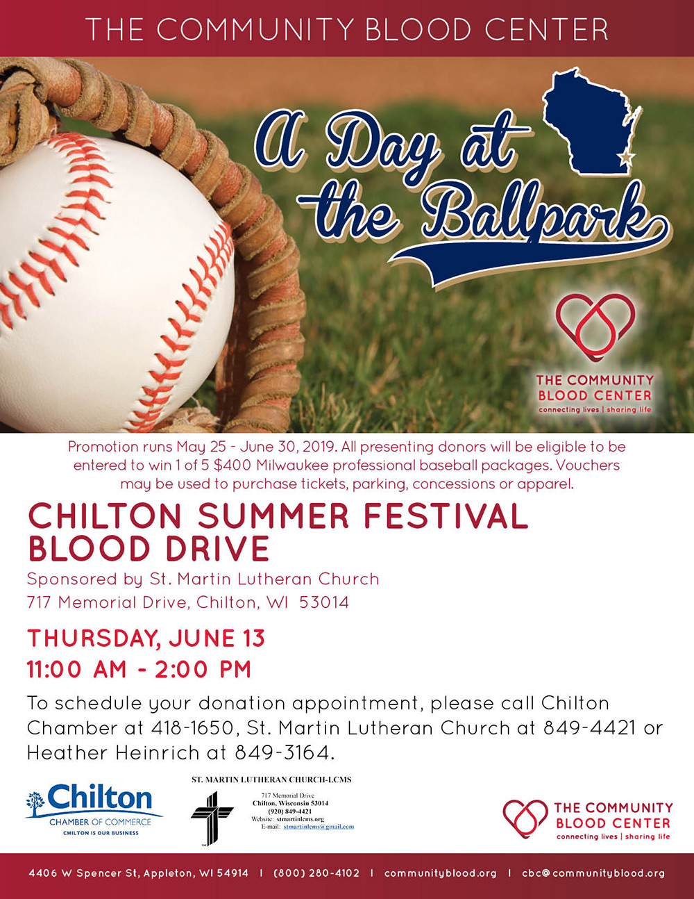June 13, 2019 Community Blood Center Blood Drive in Chilton Wisconsin sponsored by St. Martin Lutheran Church