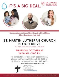 Community Blood Center blood drive October 22, 2020 at St. Martin Lutheran Church Chilton