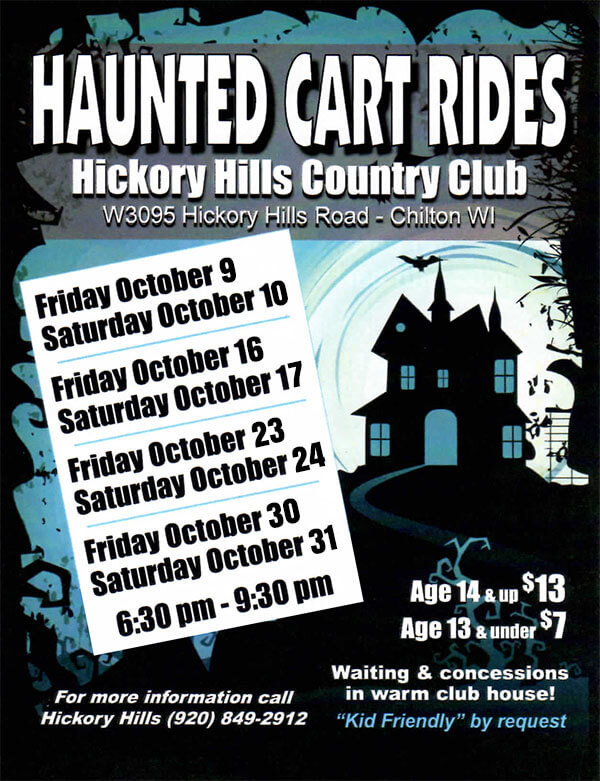 Haunted Golf Carts Rides at Hickory Hills Country Club Chilton Fridays and Saturdays in October