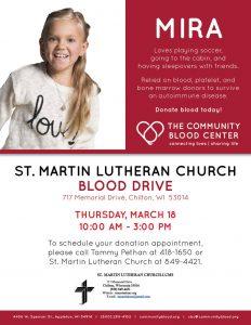 March 18, 2021 Blood Drive Community Blood Center St. Martin Lutheran Church, Chilton